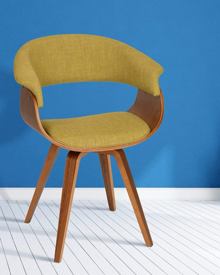 Armen Living LCSUCHWAGR Summer Chair in Green Fabric and Walnut Wood Finish