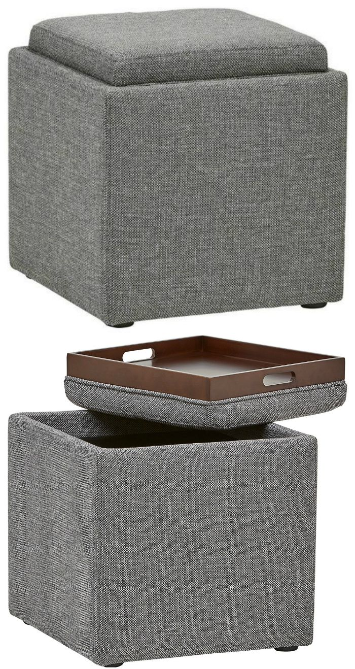 Rivet Ross Tweed Modern Lift-Top Storage Ottoman