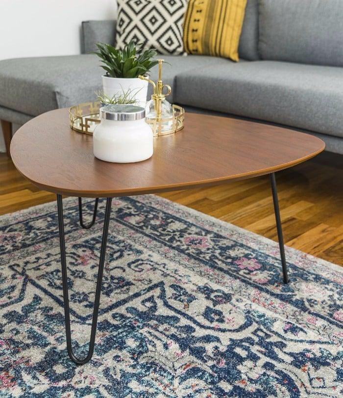 WE Furniture Hairpin Leg Wood Coffee Table