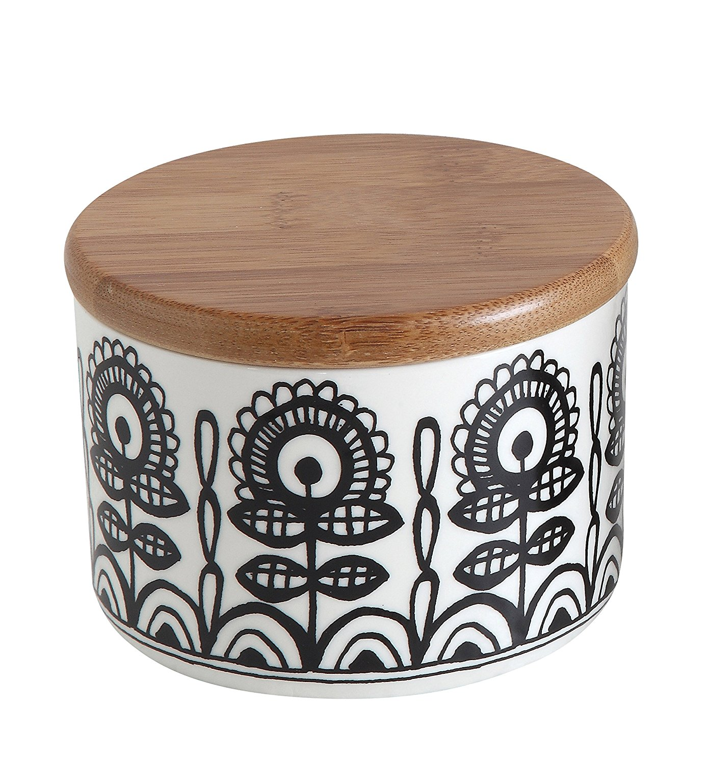Creative Co-op Ceramic Jar with Bamboo Lid and Black-White Floral Design, Multicolor, Small