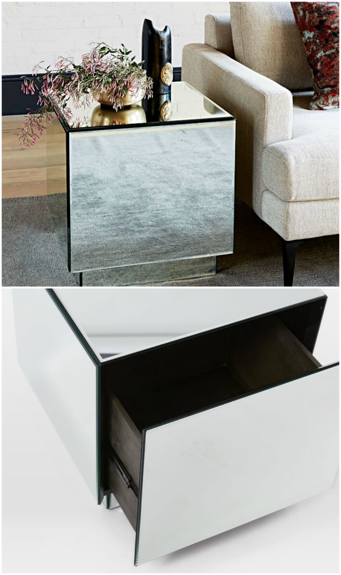 Geo Mirror Storage Side Table