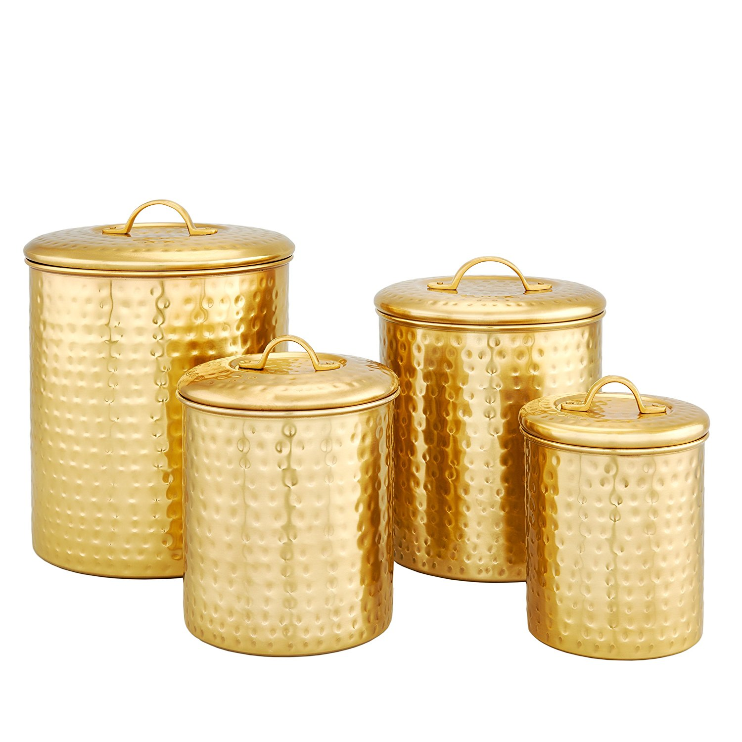 Old Dutch 4Piece Decor Champagne Hammered Storage Canister Set
