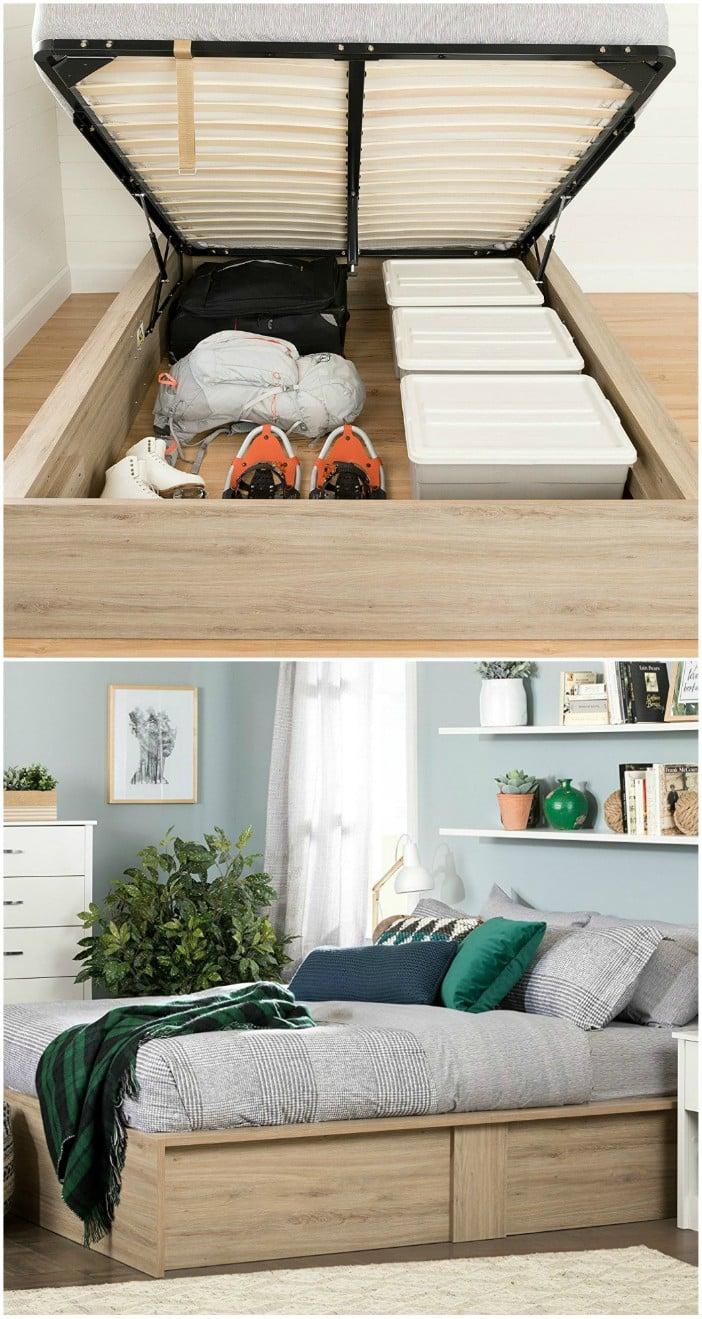 South Shore Fusion Ottoman Queen storage bed
