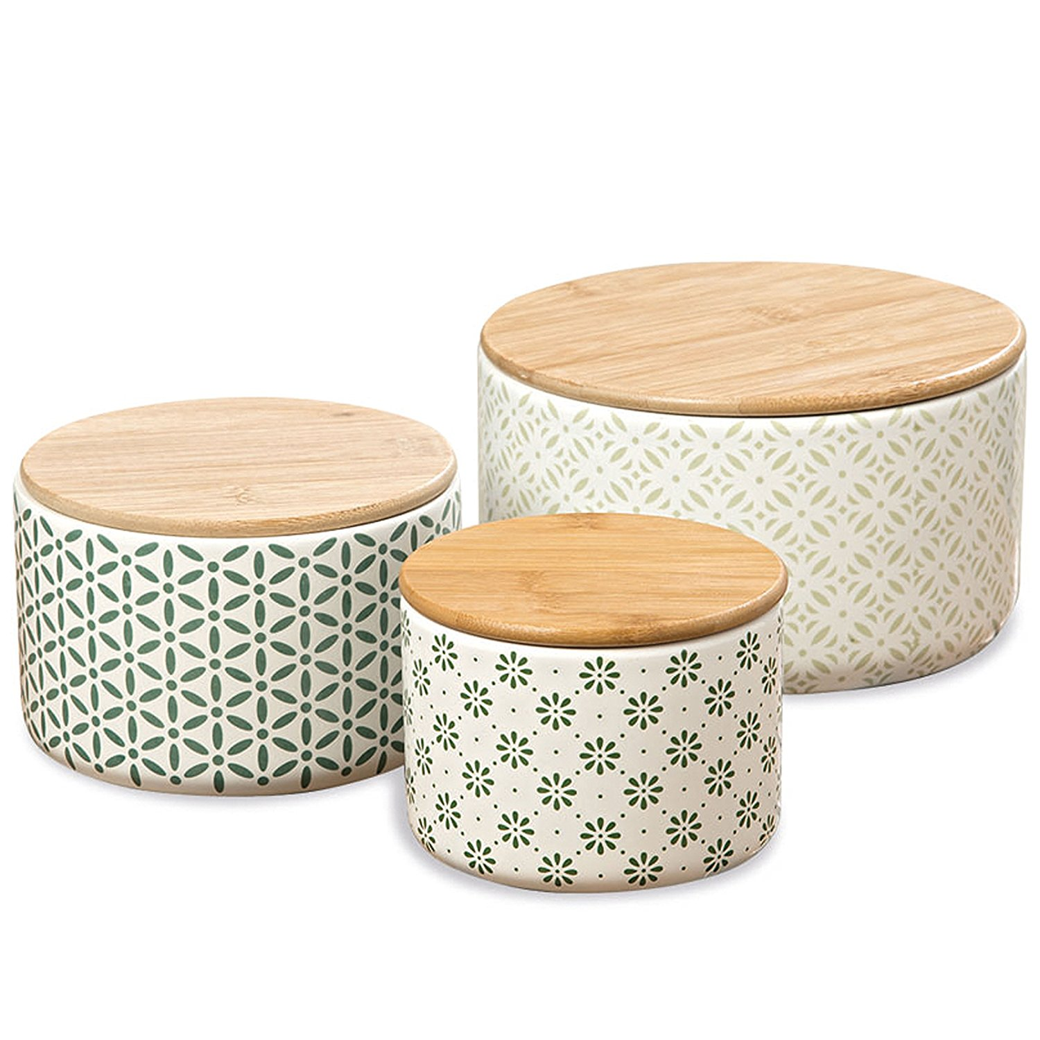 The Gastro Chic Ikat Kitchen Jars, Set of 3, For Cookies, Dry Goods, Canisters, White Glazed Ceramic,