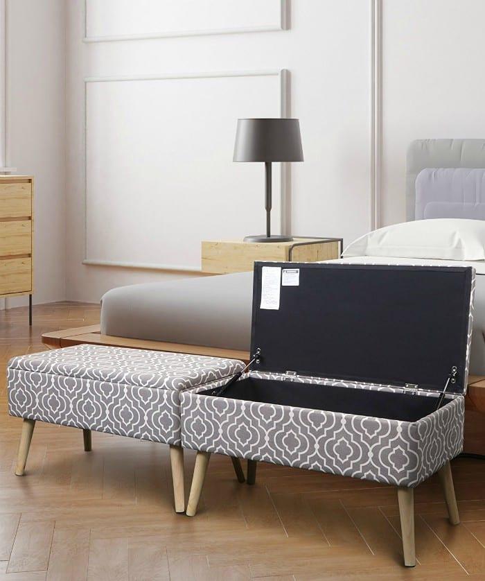 Upholstered Ottoman Storage Bench