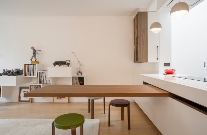 The Dining Table Is Cleverly Hidden In The Countertop Of This Chic Kitchen Living In A Shoebox