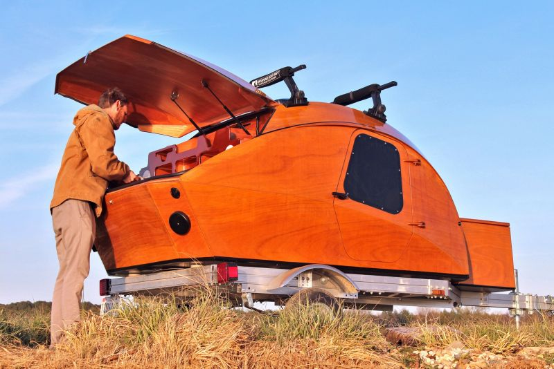 Build your own mobile camping pod with CLC Teardrop Camper kit 1 - This build-your-own teardrop camper kit takes its inspiration from boat-building techniques