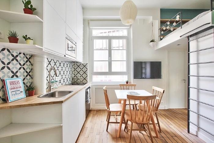 nordican apartment 1 - 20 m2 Parisian studio apartment features soft tones and stunning mosaic tiles