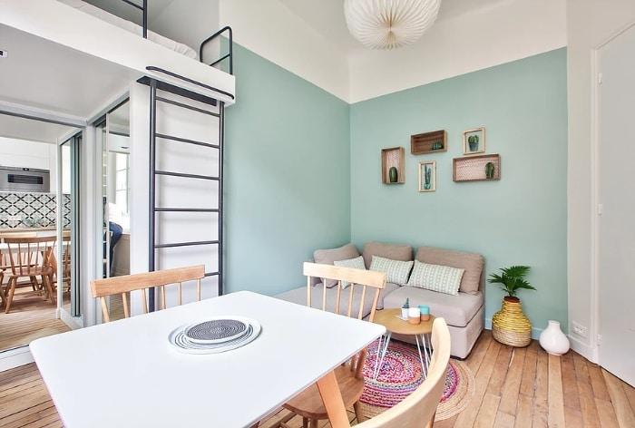 nordican apartment 2 - 20 m2 Parisian studio apartment features soft tones and stunning mosaic tiles