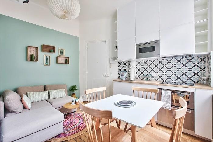 nordican apartment 4 - 20 m2 Parisian studio apartment features soft tones and stunning mosaic tiles