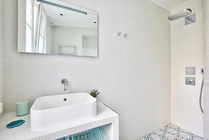 nordican apartment 5 - 20 m2 Parisian studio apartment features soft tones and stunning mosaic tiles