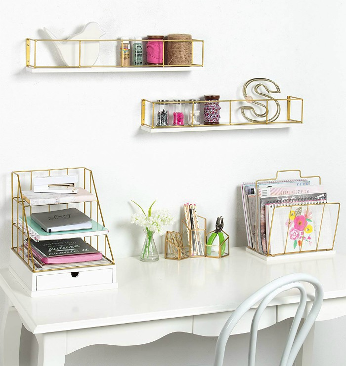 2 Pack Wood And Metal Floating Wall Shelves 24 Inch White Gold
