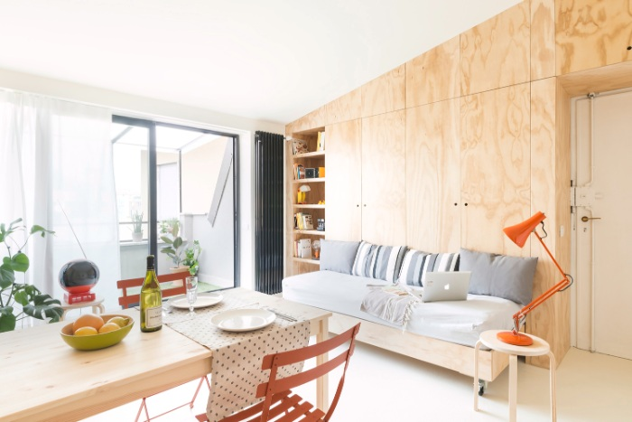 batidin flat 10 - The furniture is cleverly integrated in the walls in this 28 sqm micro-flat