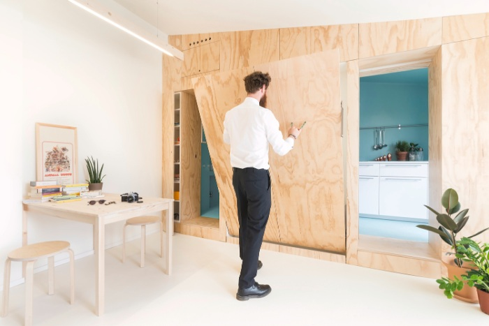 batidin flat 2 - The furniture is cleverly integrated in the walls in this 28 sqm micro-flat