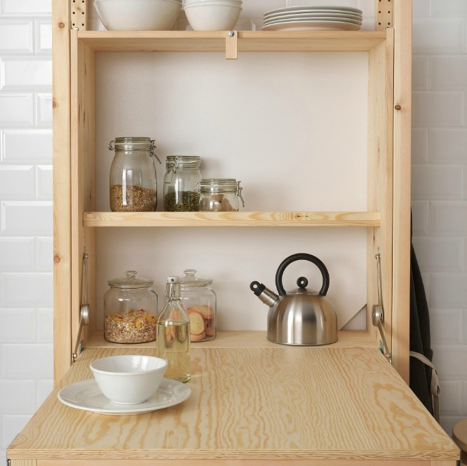 IKEA launches space-saving shelving unit with foldable table