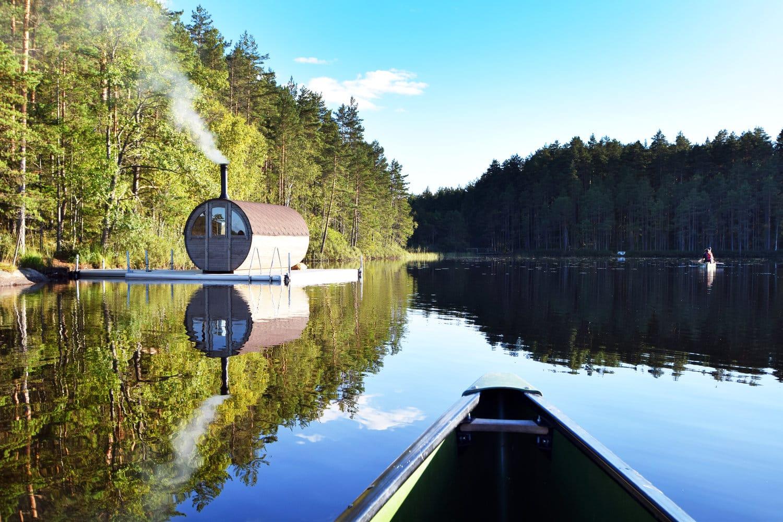 kolarbyn ecolodge canoe floating sauna2 - Sweden's most primitive hotel offers stays in charcoal burners' huts