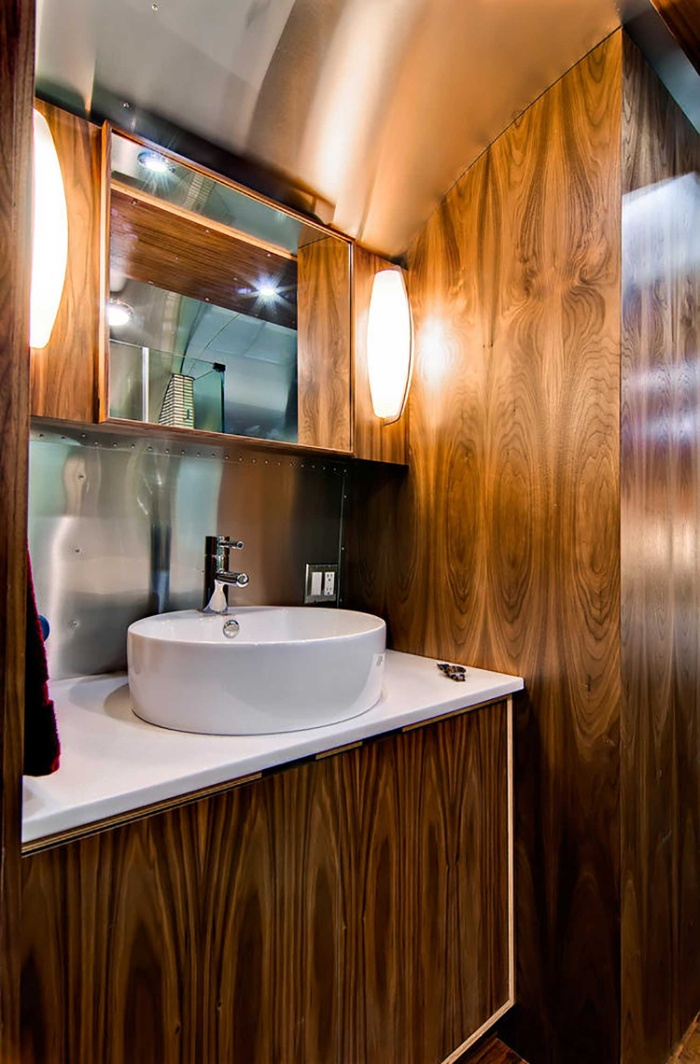 Western Pacific Airstream by Timeless Travel Trailers Bathroom1 - Rare Airstream trailer gets a stunning mid-century style restoration