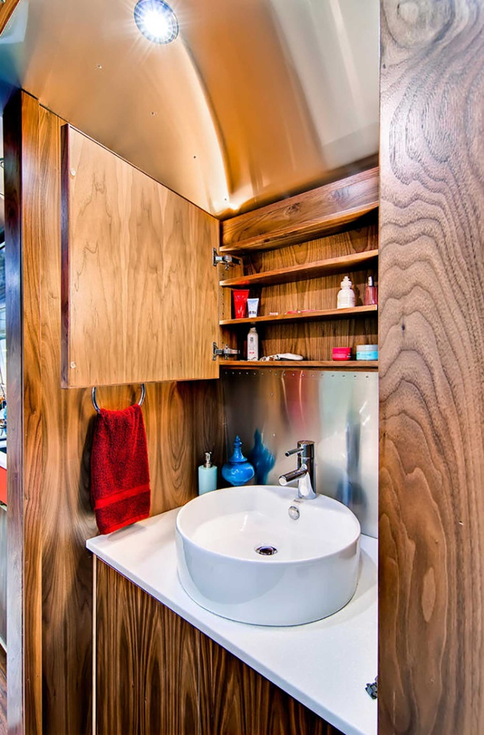 Western Pacific Airstream by Timeless Travel Trailers Bathroom2 - Rare Airstream trailer gets a stunning mid-century style restoration