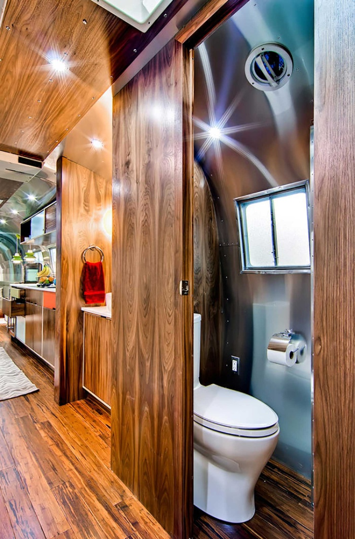Western Pacific Airstream by Timeless Travel Trailers Bathroom5 - Rare Airstream trailer gets a stunning mid-century style restoration