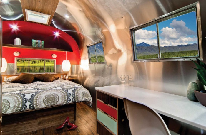 Western Pacific Airstream by Timeless Travel Trailers Bedroom2 - Rare Airstream trailer gets a stunning mid-century style restoration