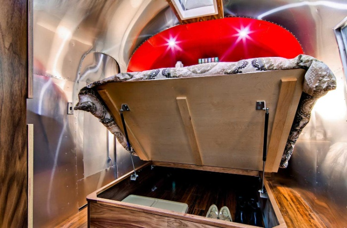 Western Pacific Airstream by Timeless Travel Trailers Bedroom5 - Rare Airstream trailer gets a stunning mid-century style restoration