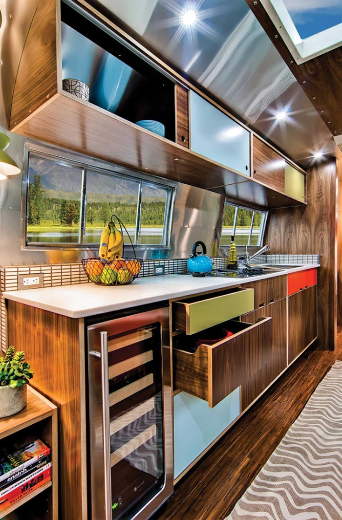 Western Pacific Airstream by Timeless Travel Trailers Kitchen2 - Rare Airstream trailer gets a stunning mid-century style restoration