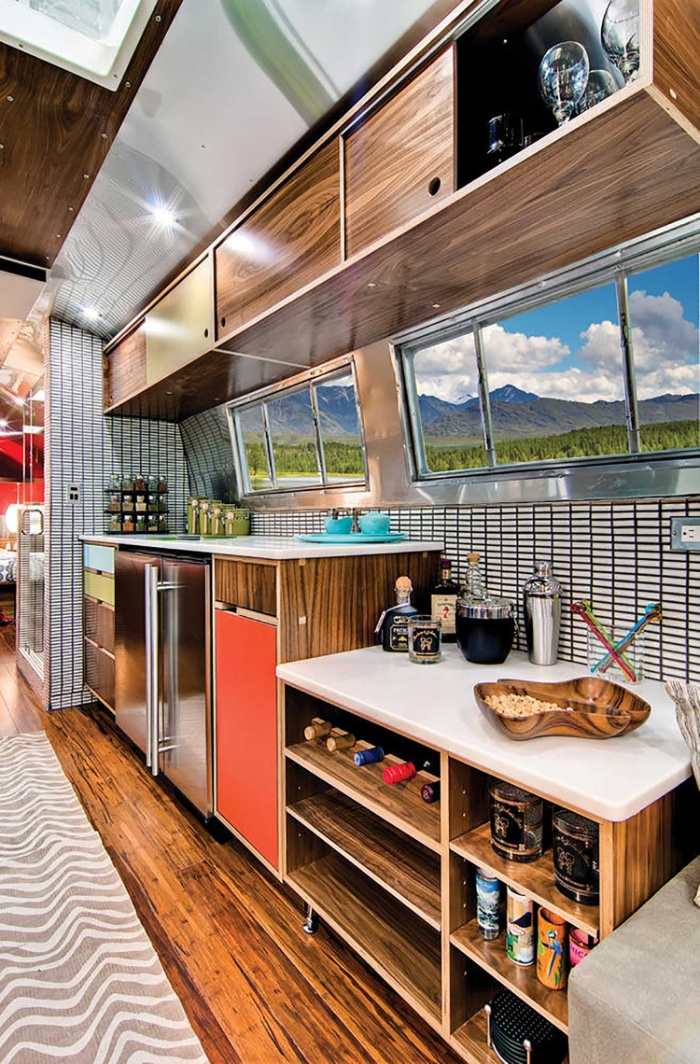 Western Pacific Airstream by Timeless Travel Trailers Kitchen3 - Rare Airstream trailer gets a stunning mid-century style restoration