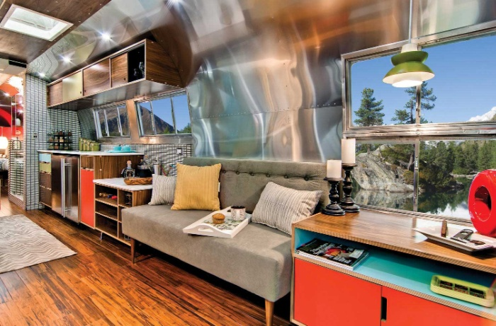 Western Pacific Airstream by Timeless Travel Trailers Living2 - Rare Airstream trailer gets a stunning mid-century style restoration