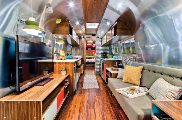Western Pacific Airstream by Timeless Travel Trailers Living3 - Rare Airstream trailer gets a stunning mid-century style restoration