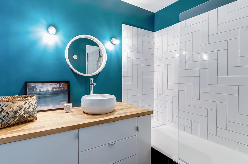 turquoise bathroom - Small studio apartment uses see-through shelving as an elegant partition wall