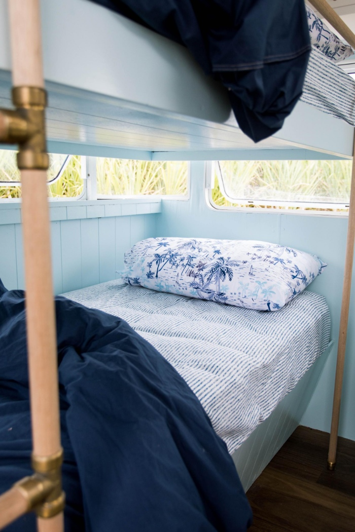 DollyCaravan CaitMiers 111 copy 700x1050 - Renovated vintage camper boasts a sumptuous mix of pastel blues and touches of brass