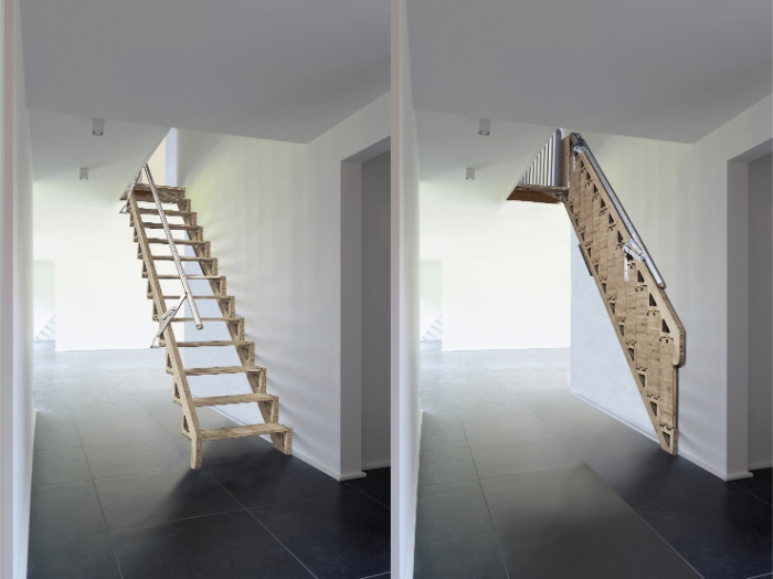 Revolutionary Hideaway Staircase Folds Flat Against The