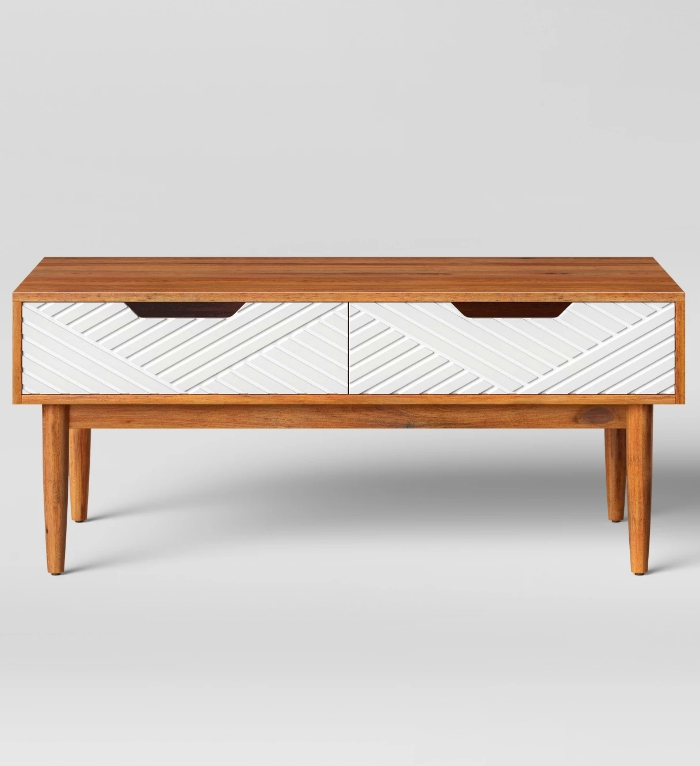 Touraco Coffee Table ($97.49). The White Drawers With Textured Lines Draw  Your Eye In, Contrasting The Hardwood Tabletop And Frame To Make This A  Stand Out ...