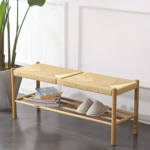 CAOMING Simple White Oak Solid Wood Rope Change Shoe Bench Porch Stool Durable - 20 chic and practical entryway benches