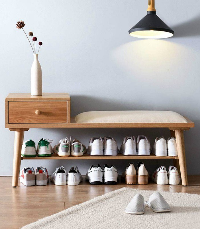 DENZI Fashion Solid Wood Sofa Stool Home Porch Storage Rack Change Shoe Bench Shoe Rack Soft and Comfortable Decorative Furniture Stool - 20 chic and practical entryway benches