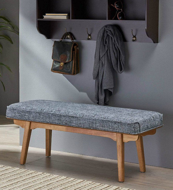 Great Deal Furniture 305329 Aditi Mid Century Fabric Bench Blueish Gray Natural - 20 chic and practical entryway benches