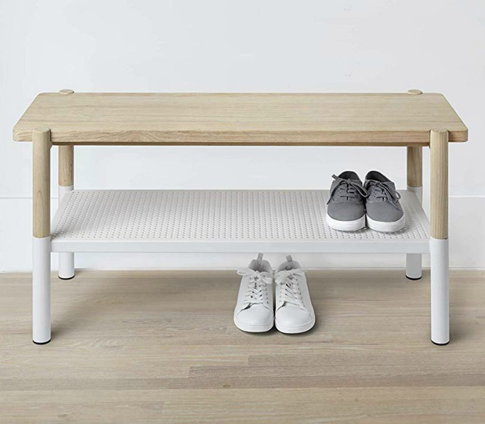 Umbra Promenade Bench Made with Ashwood and Perforated Steel - 20 chic and practical entryway benches