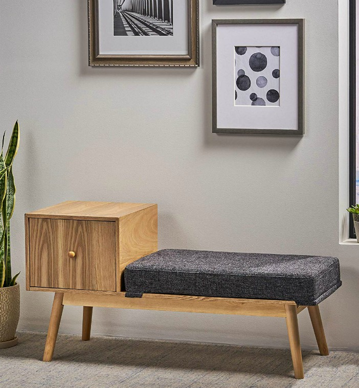 Christopher Knight Home 304989 Andrew Mid Century Fabric and Faux Wood Storage Bench Dark Grey Tweed - 20 chic and practical entryway benches