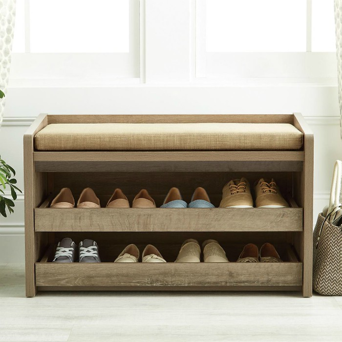 Rustic Driftwood Mercer Entryway Storage Bench - 20 chic and practical entryway benches
