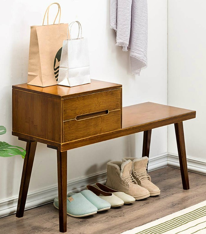 Shoe bench with Drawer Entryway Bamboo Shoes Rack Modern Shoe Storage Organizer - 20 chic and practical entryway benches