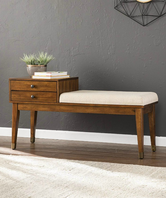 Telephone Mid Century Modern Bench Wood Finish Attached Upholstered Cushion - 20 chic and practical entryway benches