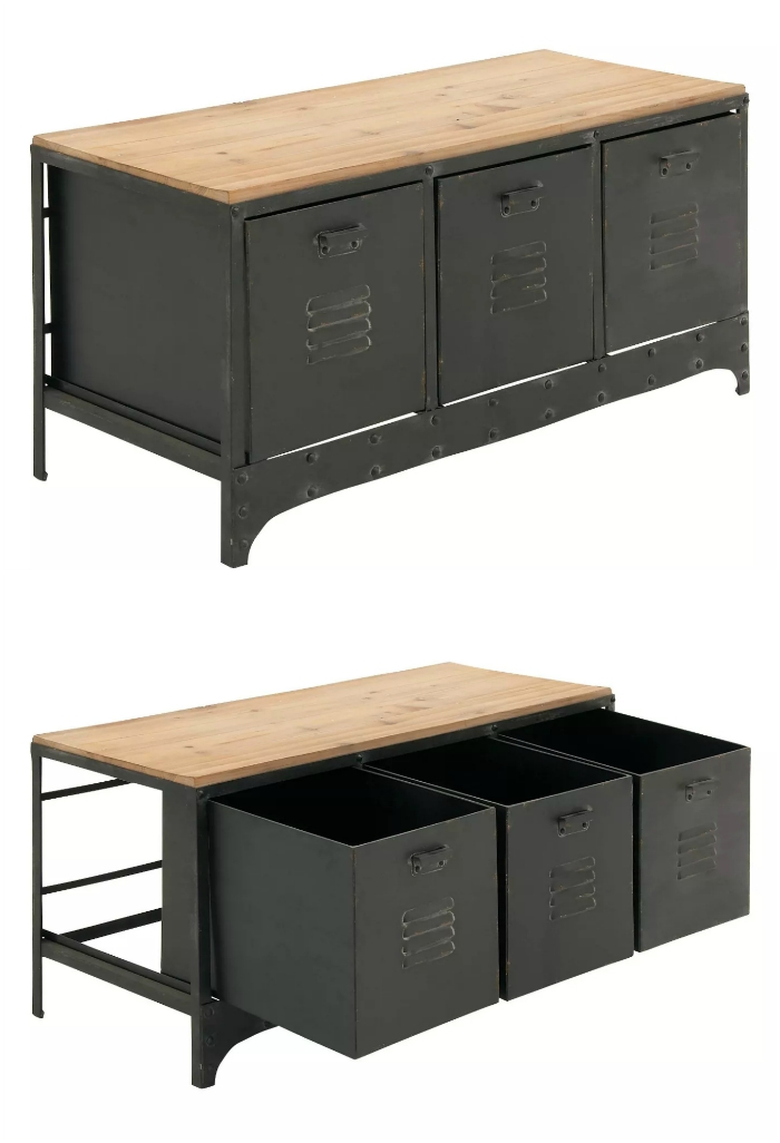 Wood Storage Bench 3 Drawers Black  - 20 chic and practical entryway benches