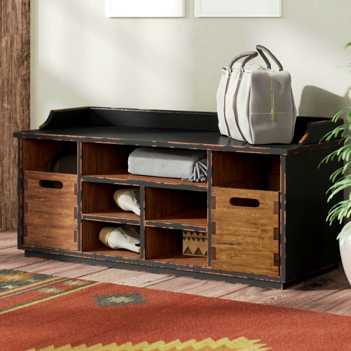 windom ridge wood storage bench - 20 chic and practical entryway benches