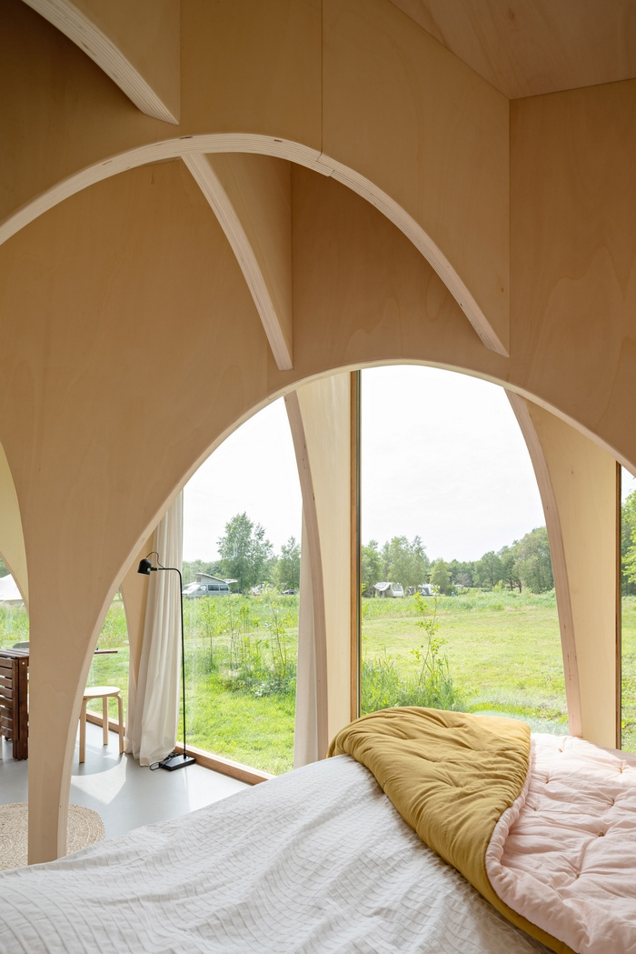 eco cabin 2 - This tiny cabin boasts a stunning timber domed interior