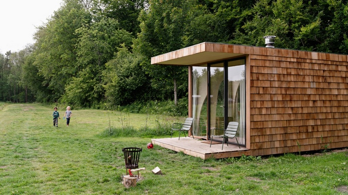 eco cabin - This tiny cabin boasts a stunning timber domed interior