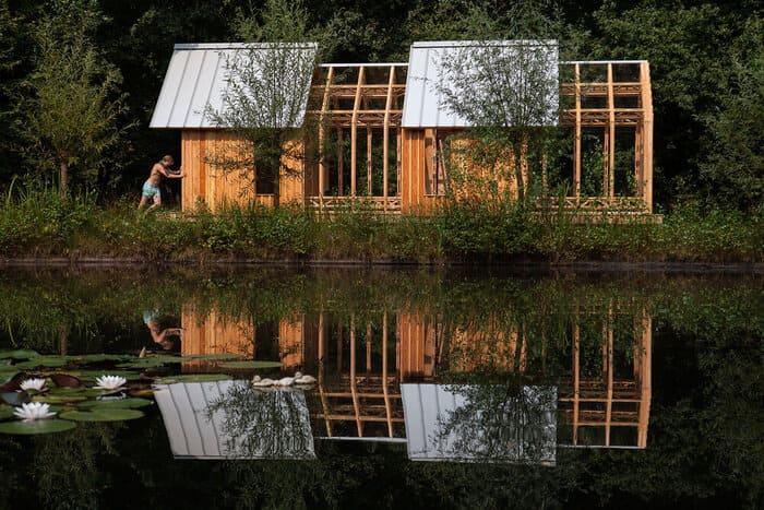 cabin slides apart 18 - Sliding walls make this Dutch cabin a transforming wonder