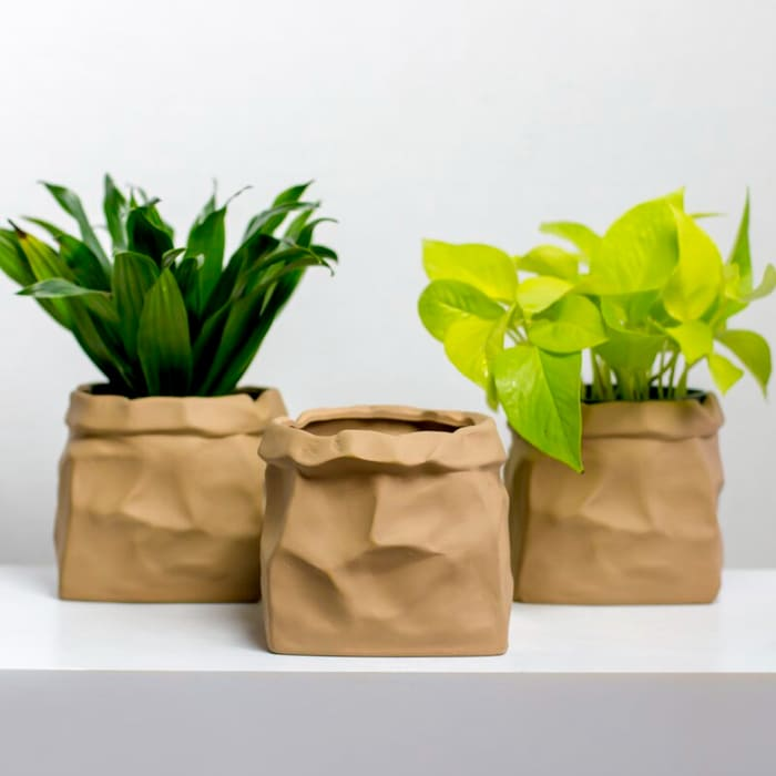 BaragaPaperBagCeramicPotPlanter - Give your favorite plant a fabulous makeover with one of these 25 planters
