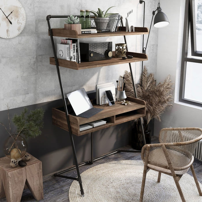Furniture of America Callana Rustic 2 Open shelves Ladder Desk - 25 gorgeous desks for your small space