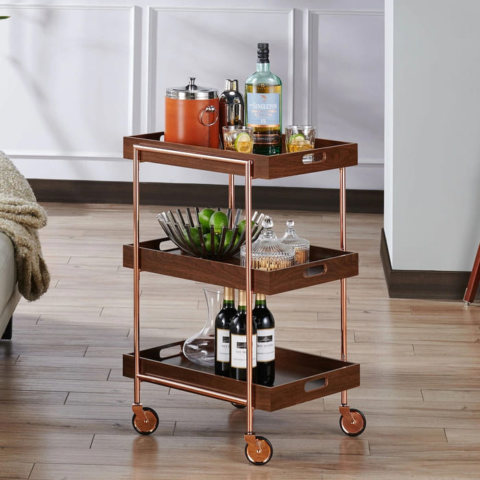 The Curated Nomad Highland Contemporary Walnut Kitchen Cart - Add gorgeous storage to your home with these 25 rolling carts