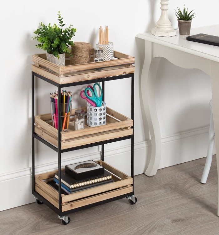 Usman 3 Tiered Storage Cart With Wheels Wood with Black Metal Frame e3bab789 74d3 4a46 9dc9 a39fa4c1efa3 1000 1 - Add gorgeous storage to your home with these 25 rolling carts